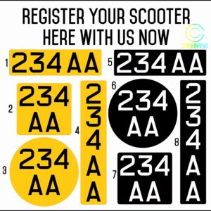 Scooter Registration Number Stickers